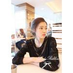 LRT257-553-645 Floral Lace See-Through Long-Sleeve Blouse (Black)