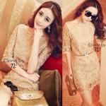 Golden Lace Embroidery Charming Dress