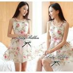 Lady Ribbon Sweet Rose Organdy Mini dress