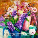 ภาพแจกันดอกไม้ กรอบลอย 40x40 cm.