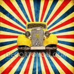 ภาพรถคลาสสิค กรอบลอย 25x25 cm.