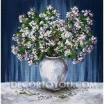 ภาพแจกันดอกไม้สีขาว  Canvas  40x40 cm.