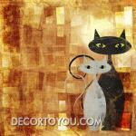 ภาพวาดแมว Canvas 80x110 cm.