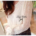 LRT257-553-645 Floral Lace See-Through Long-Sleeve Blouse (White)