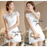 Lady Pure White Blossom Embroidery Gala Mini Dress