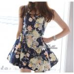 Lady Laura, Navy Tropical Floral Print Mini Dress, Partysu Korea