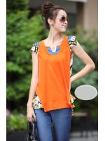 เสื้อแฟชั่นเกาหลี โทนสีส้ม แอบ 2 โทนในตัวเดียวกัน ด้านหน้าสีส้มเรียบ เล่นประดับ รูปวี สีทอง และไหล่ยกอัดฟองน้ำ เป็นทรงในตัว ด้านหลังเป็นผ้าลวดลายดูพริ้วคะ งานดี