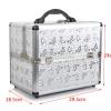 Professional Aluminium Makeup Cosmetic Box Vanity Caseสีเงินลายผีเสื้อ