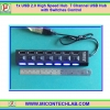 1x USB 2.0 High Speed Hub 7 Channel USB Hub with On/Off Switches