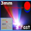 5x RGB Fast Flashing Rainbow LED Super Bright 3mm + 5x Resistor 200 Ohm 1/4W 1%