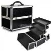 Professional Aluminium Makeup Cosmetic Box Vanity Case สีดำ