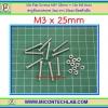 10x Flat Screws M3* 25mm + 10x M3 Nuts (สกรูหัวแบนขนาด 3มม ยาว 25มม+น็อตตัวเมีย )