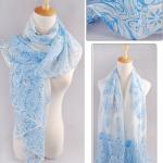 ผ้าพันคอผ้าชีฟอง ลายบูติกสีฟ้าขาว