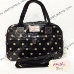 กระเป๋า Chalita wu + สะพาย 2 ซิป สีดำ ลายจุด