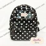 กระเป๋าเป้ Chalita wu สีดำ ลายขาวจุด