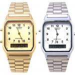 นาฬิกา CASIO นาฬิกาคู่ เรือนทอง เรือนเงิน รุ่น AQ-230GA-9B เรือนทอง กับ AQ-230A-7B เรือนเงิน ประกันศูนย์ 1 ปีเต็ม