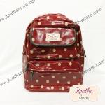 กระเป๋าเป้ Chalita wu สีเลือดหมู ลายจุด