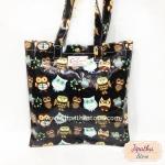 กระเป๋า Chalita wu สีดำ ลายนกฮูก