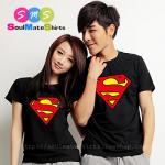 เสื้อคู่ เสื้อคู่รัก สีดำ ลาย ซุปเปอร์แมน ผลิตจากผ้าคอตตอน 100%