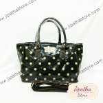 กระเป๋า Chalita wu + สะพาย จีบข้าง สีดำ ลายจุด