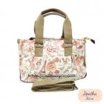 กระเป๋า Chalita wu + สะพาย ทรงกระโปรง สีขาว ลายหอไอเฟล