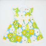 (พร้อมส่ง) Carters เดรสเด็กสีฟ้าลายดอกไม้สีเหลืองกับเขียว มีซับใน ติดโบว์สีครีมน่ารัก