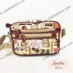 กระเป๋า Chalita wu + สายสะพาย ใบเล็ก สีครีม ลายวินเทจ