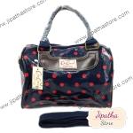 กระเป๋า Chalita wu + สายสะพาย สีกรม ลายจุด