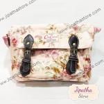 กระเป๋าสะพาย Chalita wu สองเข็มขัด สีชมพู ลายดอกไม้