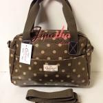 กระเป๋า Chalita wu + สะพาย สีน้ำตาล ลายจุด