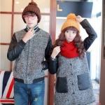 เสื้อโค้ทกันหนาวคู่รักแฟชั่นสไตล์เกาหลี ผ้าหนาสองชั่นใส่อุ่นมากๆ