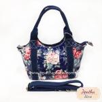 กระเป๋า Chalita wu + สายสะพาย 8 นิ้ว สีกรม ลายดอกไม้