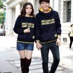 เสื้อกันหนาวแฟชั่น คู่รักแฟชั่นสไตล์เกาหลี มีฮู้ด สีกรม