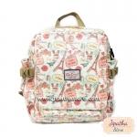 กระเป๋าเป้ Chalita wu ใหญ่ สีขาว ลายหอไอเฟล