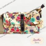 กระเป๋าสะพาย Chalita wu ทรงแบนขาดเข็ดขัด สีชา ลายดอกไม้