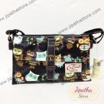 กระเป๋าสะพาย Chalita wu 3 ช่องทรงแบน สีดำ ลายนกฮูก