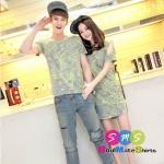 เสื้อคู่ เสื้อคู่รัก ชุดพรีเวดดิ้ง ชุดคู่รัก เสื้อคู่รักเกาหลี เสื้อผ้าแฟชั่น ผู้ชายเป็นเสื้อคอกลม+ผู้หญิงเป็นเดรสเว้าไหล่ พิมพ์ลายน่ารัก