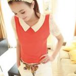 เสื้อแฟชั่นเกาหลี เสื้อสไตล์เกาหลีแขนลูกไม้(สินค้าหมดชั่วคราว)