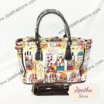 กระเป๋า Chalita wu + สะพาย จีบข้าง สีขาว ลายแฟชั่น