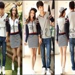 PRE-ORDER ชุดคู่รักน่ารัก เกาหลีใหม่เนื้อผ้าฝ้ายแขนยาวลายทาง ญ.เดรสสั้นแขนยาว/ช.เสื้อยืดแขนยาว