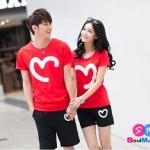 เสื้อคู่ เสื้อคู่รัก ชุดพรีเวดดิ้ง ชุดคู่รัก เสื้อคู่รักเกาหลี เสื้อผ้าแฟชั่น ผู้ชาย-ผู้ชาย เป็นเสื้อคอกลม+ กางเกง