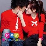 เสื้อคู่รัก ชุดคู่รัก เสื้อคู่ เสื้อยืดคู่รัก แขนยาว สีแดง ผลิตจากผ้าฝ้ายคุณภาพสูง สกรีนลายเนคไทน์ และโบว์ น่ารักมากๆเลยนะคะ