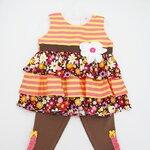 (พร้อมส่ง) Laura Ashley girl เสื้อแขนกุดมีระบายสีส้มชมพูลายจุด ติดดอกไม้ที่หน้าอก พร้อมเลคกิ้งเข้าชุด
