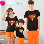 เสื้อครอบครัว ชุดครอบครัว เสื้อ พ่อ แม่ ลูก ลาย ซุปเปอร์แมน ผลิตจากผ้าคอตตอน 100%