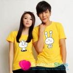 เสื้อยืดคู่รัก ชุดคู่รัก เสื้อคู่ เสื้อคู่รักเกาหลี เสื้อยืดคู่รักผ้าฝ้าย สีเหลือง สกรีนลายการ์ตูนน่ารัก
