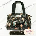 กระเป๋า Chalita wu + สายสะพาย สีดำ ลายนกฮูก