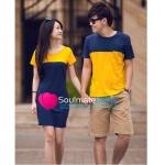 ชุดคู่รัก เสื้อคู่รักเกาหลี เสื้อผ้าแฟชั่น ชายเสื้อยืดสีนน้ำเงินตัดสีเหลือง มีกระเป๋า + หญิงเดรสแขนสั้นสีเหลืองตัดสีนำเงินกรมท่า