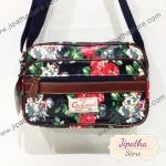 กระเป๋าสะพาย Chalita wu สีกรม ลายดอกไม้