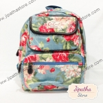 กระเป๋าเป้ Chalita wu สีฟ้า ลายดอกไม้