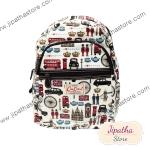 กระเป๋าเป้ Chalita wu สีขาว ลายลอนดอน